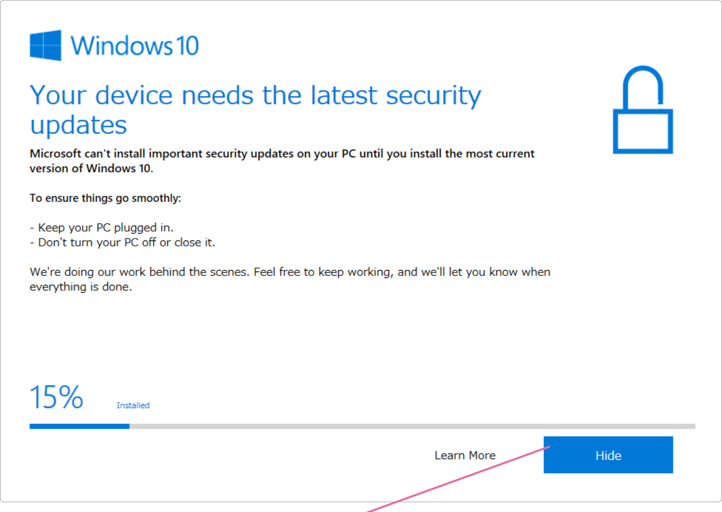 Your device needs the latest security Updates